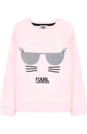 Детский хлопковый свитшот с принтом Karl Lagerfeld Kids розового цвета | Фото №1