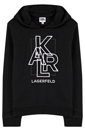 Детский худи из смеси хлопка и полиэстера с вышивкой Karl Lagerfeld Kids черного цвета | Фото №1