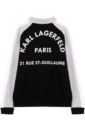Детский хлопковый кардиган на молнии с воротником-стойкой Karl Lagerfeld Kids серого цвета | Фото №1