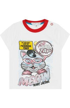 Детский футболка джерси с принтом MARC JACOBS (THE) белого цвета, арт. W05226 | Фото 1