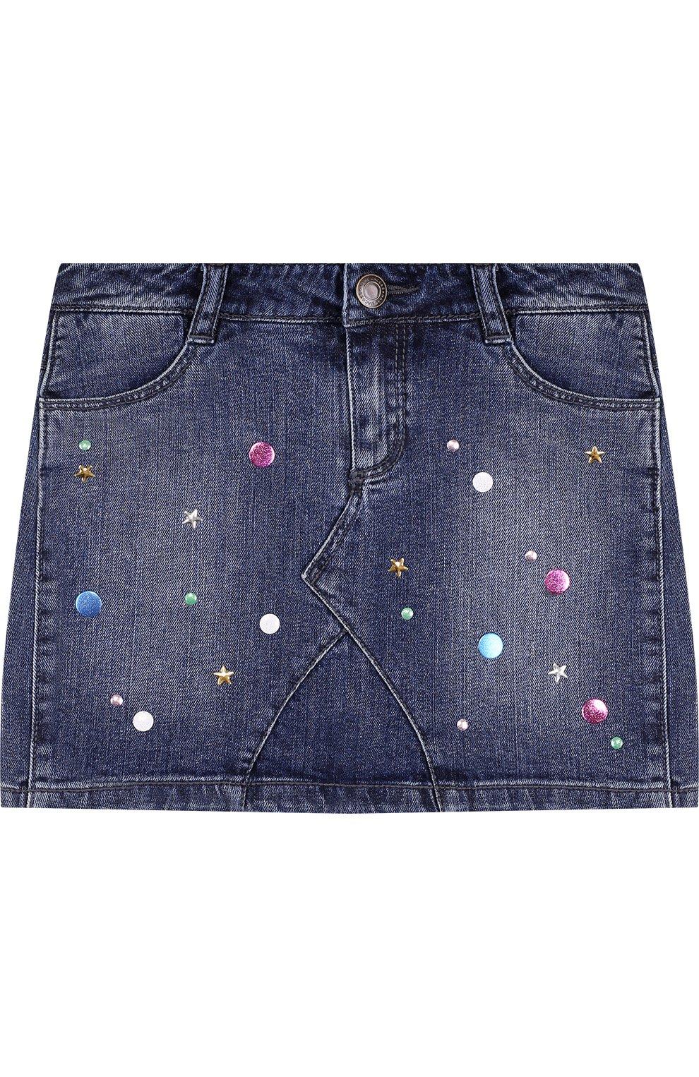 Джинсовая мини-юбка с металлизированной отделкой   Фото №1