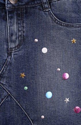 Джинсовая мини-юбка с металлизированной отделкой   Фото №3