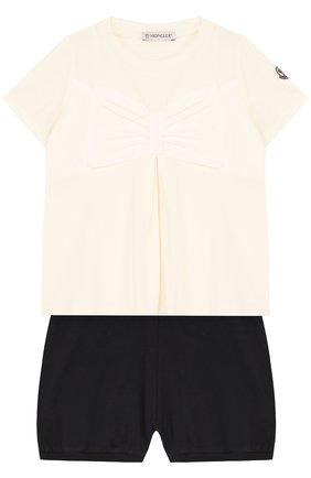 Детский хлопковый комплект из футболки и шорт MONCLER ENFANT белого цвета, арт. D1-951-88567-05-8790A | Фото 1