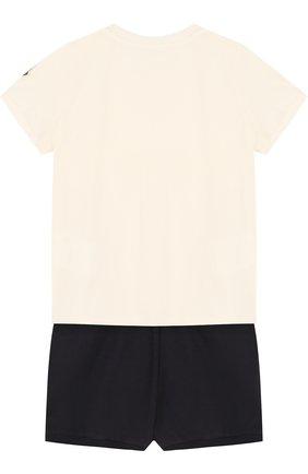 Детский хлопковый комплект из футболки и шорт MONCLER ENFANT белого цвета, арт. D1-951-88567-05-8790A | Фото 2