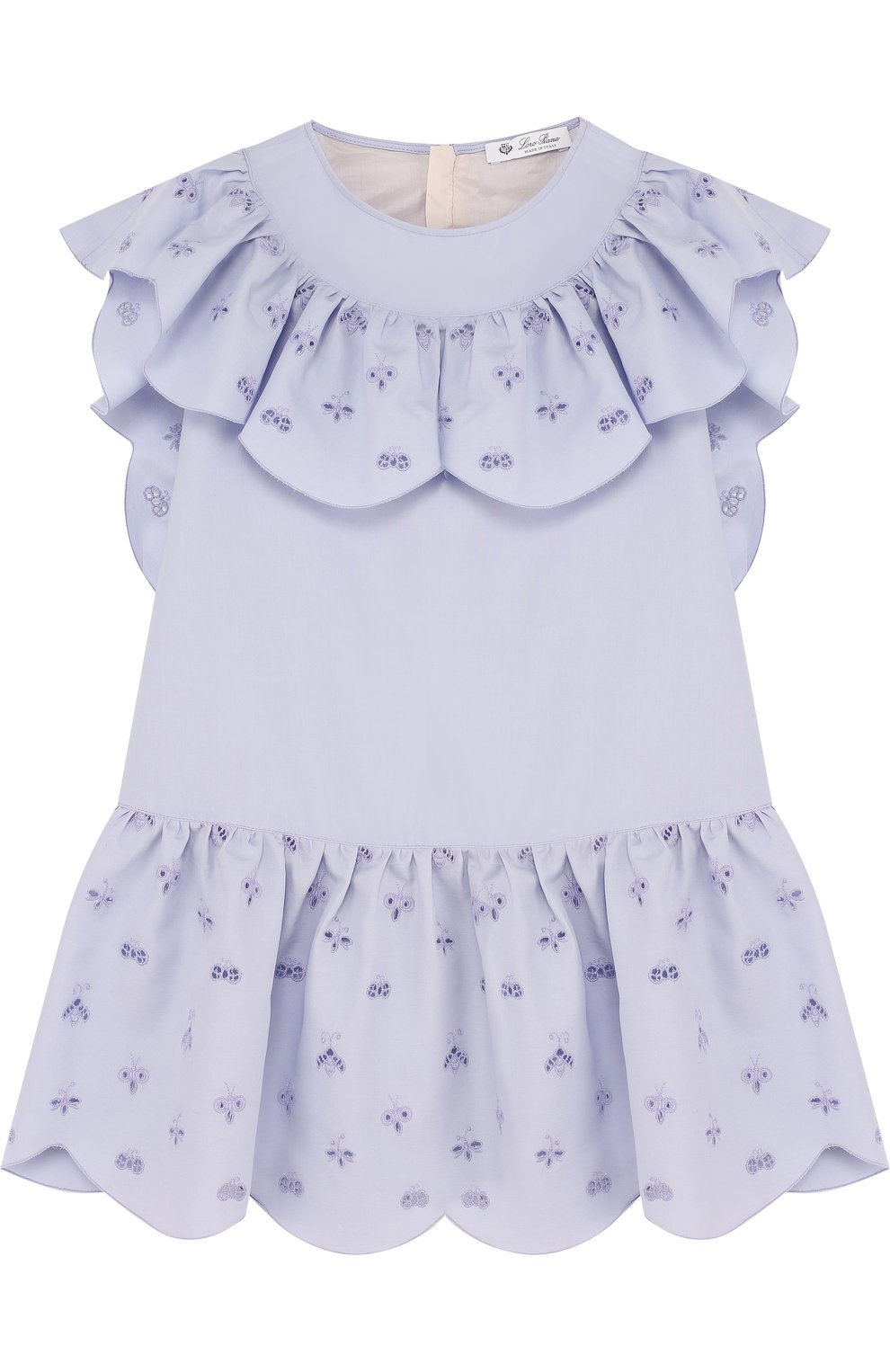 Хлопковое мини-платье с оборками и вышивкой   Фото №1