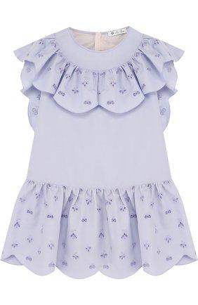 Хлопковое мини-платье с оборками и вышивкой | Фото №1
