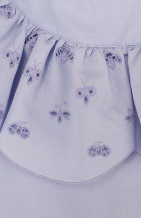 Хлопковое мини-платье с оборками и вышивкой   Фото №3