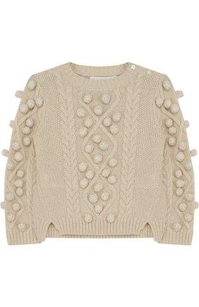 Кашемировый свитер фактурной вязки с помпонами | Фото №1