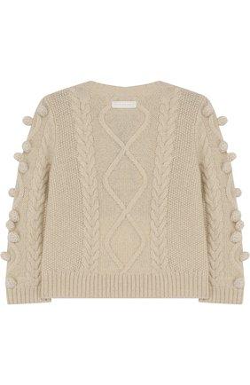 Кашемировый свитер фактурной вязки с помпонами | Фото №2