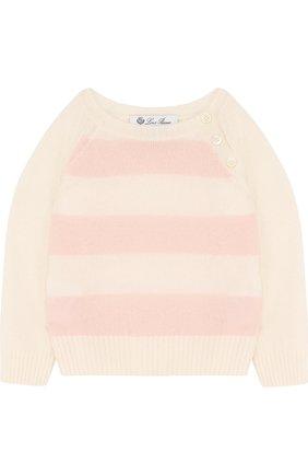Детский кашемировый свитер в полоску LORO PIANA розового цвета, арт. FAE7160 | Фото 1