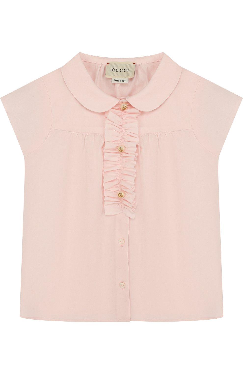 Детский хлопковая блуза с оборкой GUCCI розового цвета, арт. 503772/XB365 | Фото 1