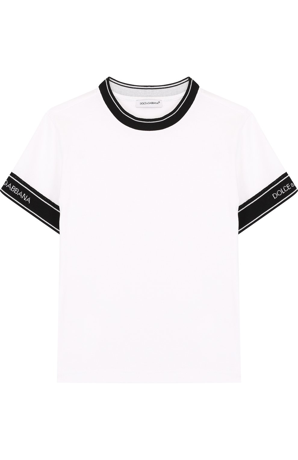Детская хлопковая футболка с контрастной отделкой DOLCE & GABBANA белого цвета, арт. L4JT6J/G7MIV/2-6 | Фото 1