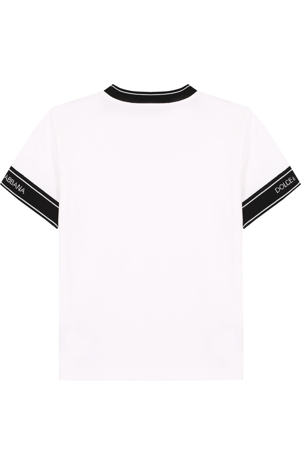 Детская хлопковая футболка с контрастной отделкой DOLCE & GABBANA белого цвета, арт. L4JT6J/G7MIV/2-6 | Фото 2