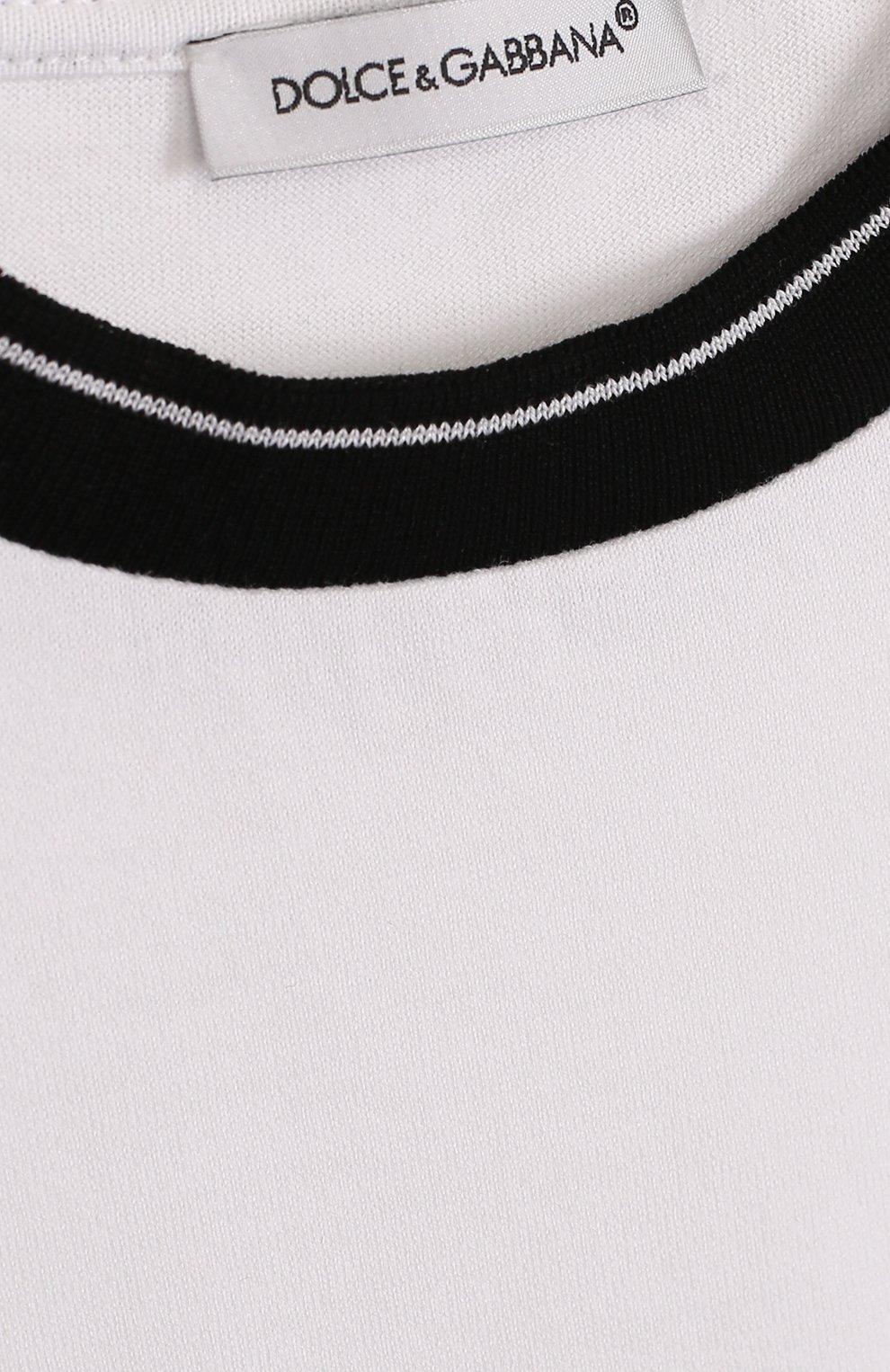 Детская хлопковая футболка с контрастной отделкой DOLCE & GABBANA белого цвета, арт. L4JT6J/G7MIV/2-6 | Фото 3