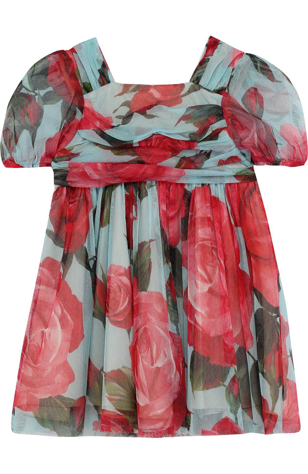 Детское мини-платье свободного кроя из хлопка и вискозы с принтом DOLCE & GABBANA голубого цвета, арт. L53S48/FS580/2-6 | Фото 1