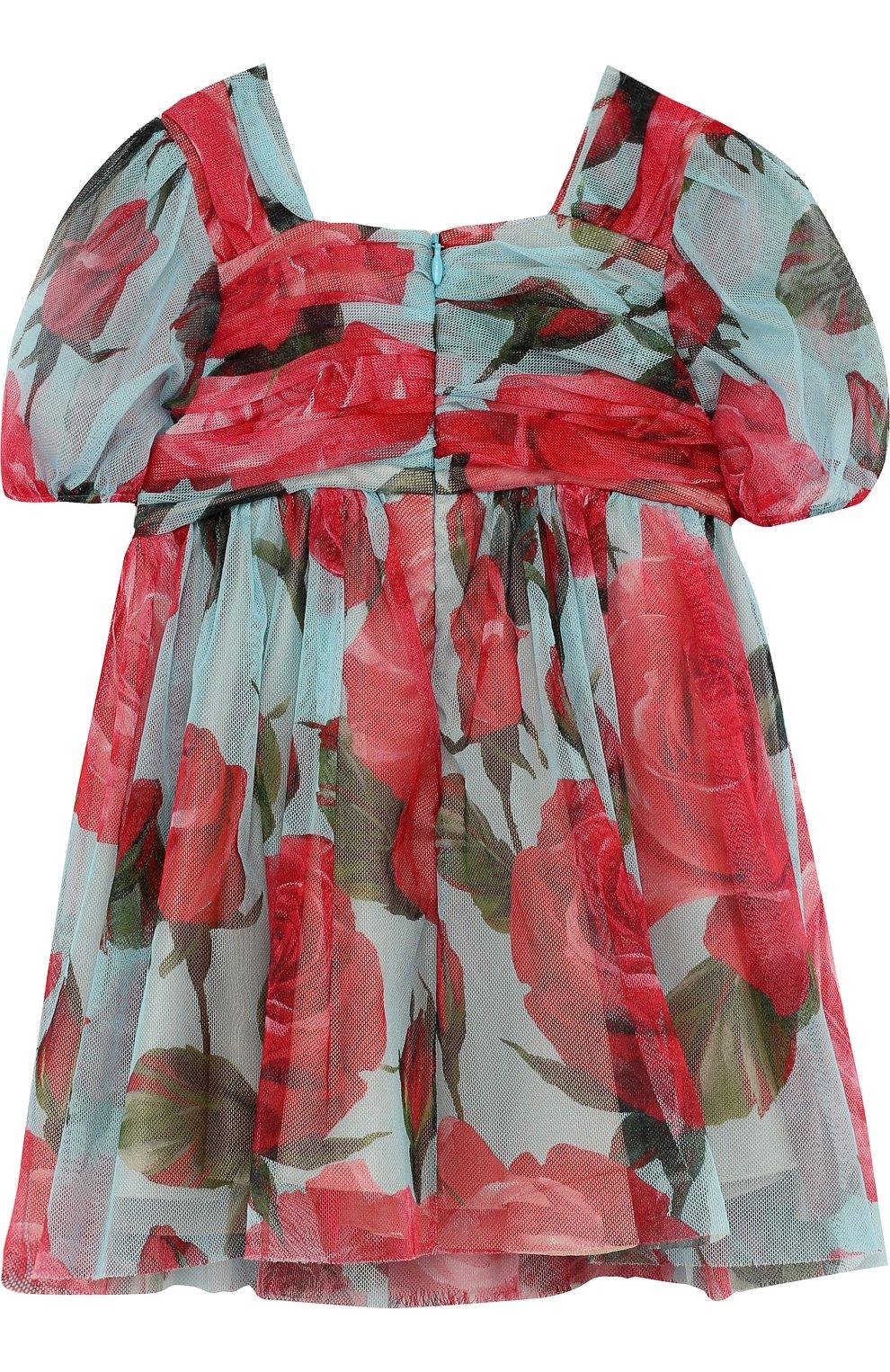 Детское мини-платье свободного кроя из хлопка и вискозы с принтом DOLCE & GABBANA голубого цвета, арт. L53S48/FS580/2-6 | Фото 2