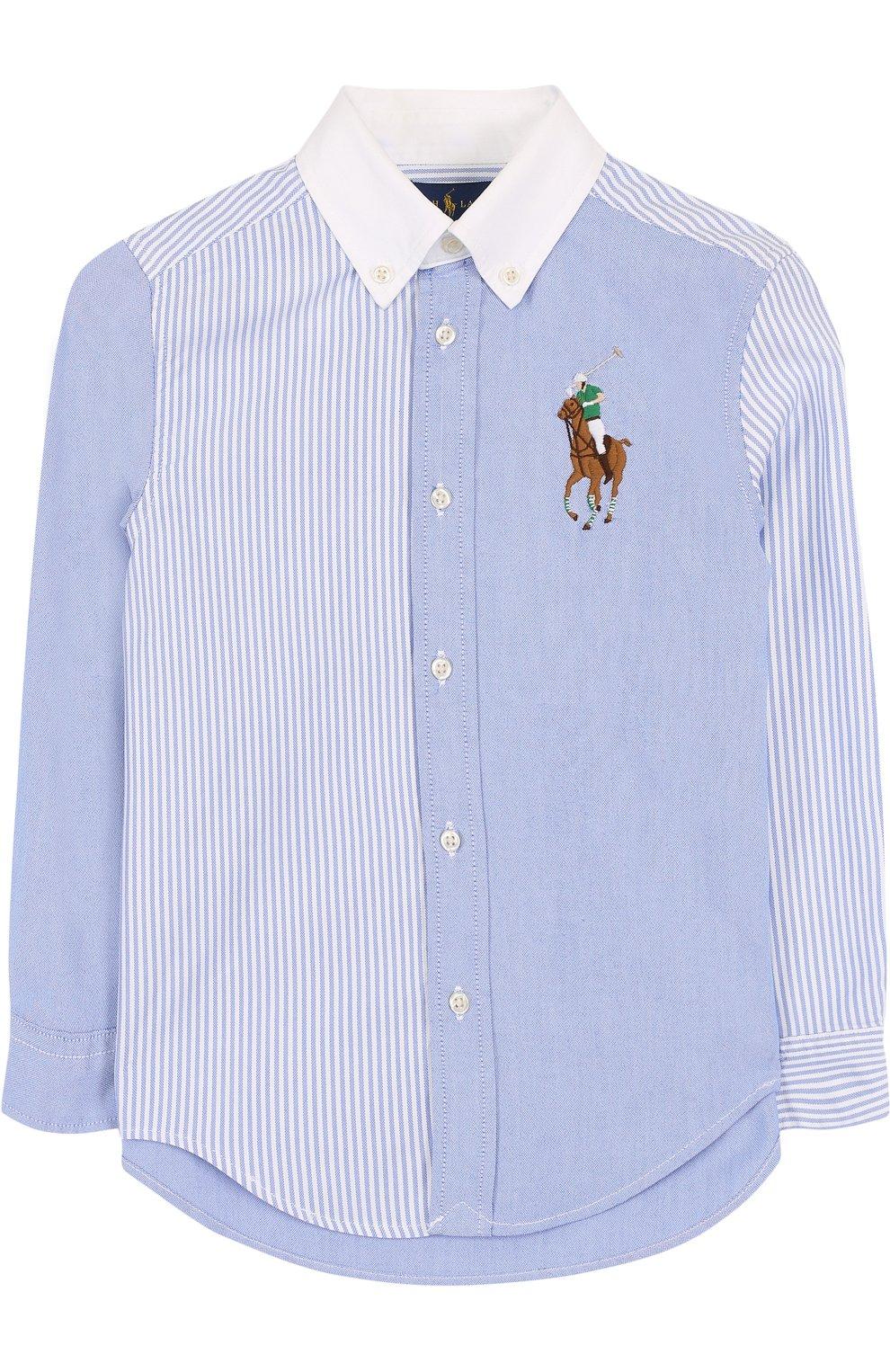 Детская комбинированная рубашка из смеси хлопка и полиамида с воротником button down RALPH LAUREN голубого цвета, арт. 323690059   Фото 1