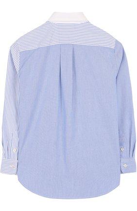 Детская комбинированная рубашка из смеси хлопка и полиамида с воротником button down RALPH LAUREN голубого цвета, арт. 323690059   Фото 2