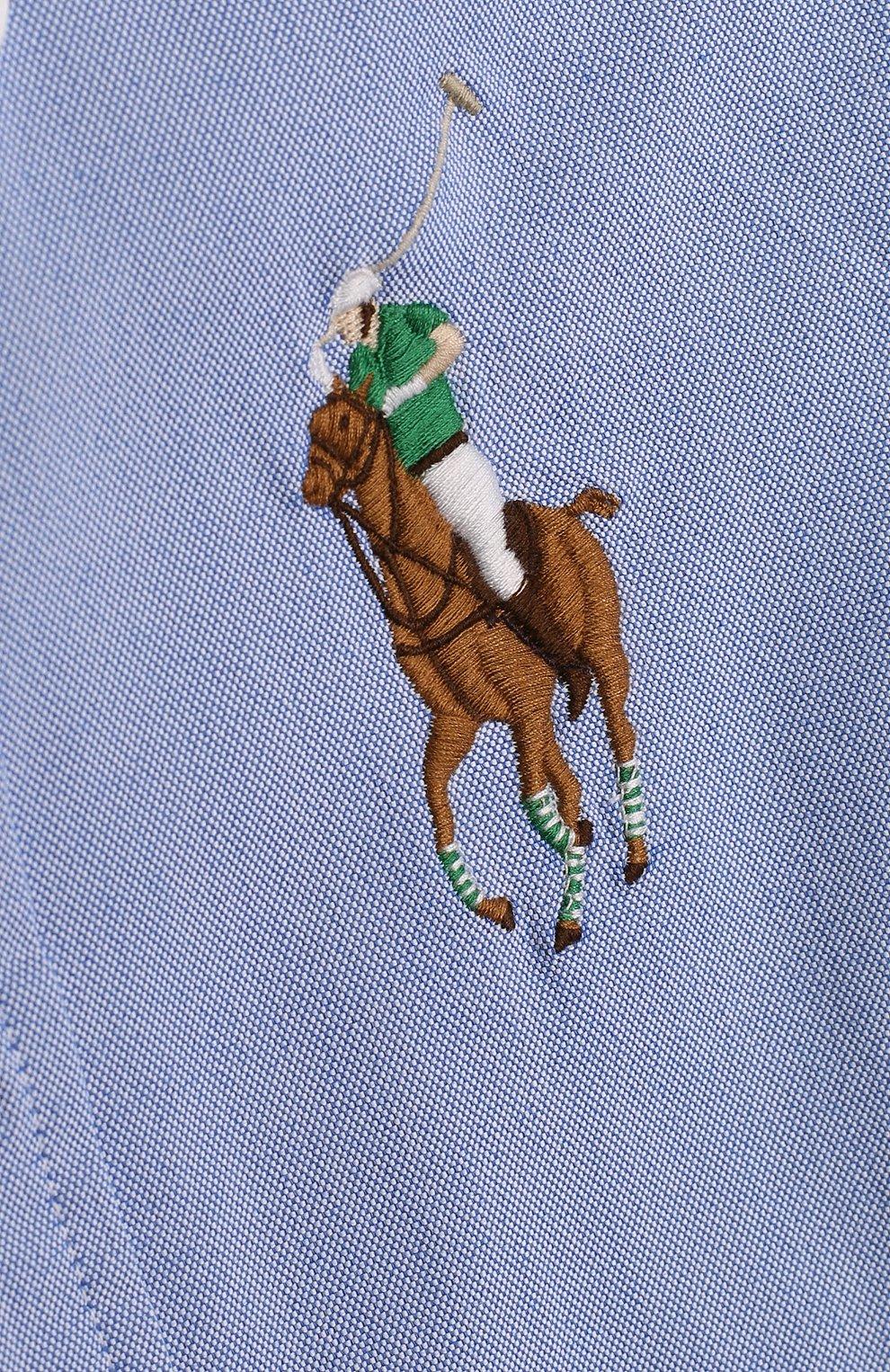Детская комбинированная рубашка из смеси хлопка и полиамида с воротником button down RALPH LAUREN голубого цвета, арт. 323690059   Фото 3