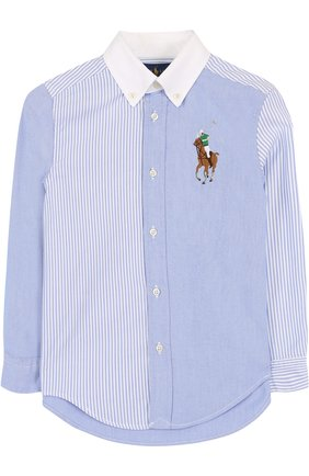 Комбинированная рубашка из смеси хлопка и полиамида с воротником button down | Фото №1
