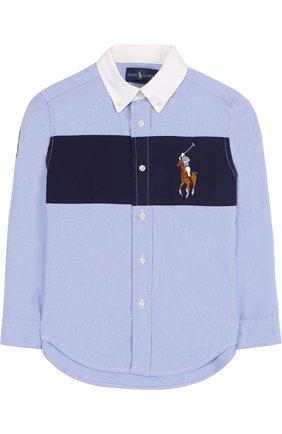 Рубашка из смеси хлопка и полиамида с воротником button down и контрастной отделкой | Фото №1