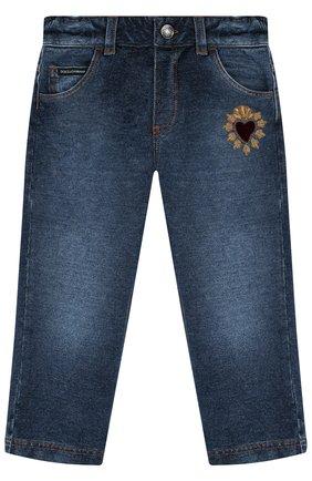 Детские джинсы с декоративными потертостями DOLCE & GABBANA синего цвета, арт. L1JPS8/G70B0 | Фото 1