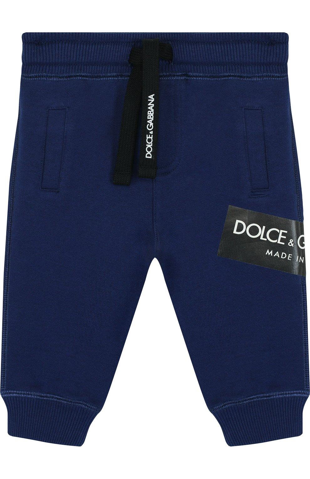 Детские хлопковые джоггеры с логотипом бренда DOLCE & GABBANA синего цвета, арт. L1JPR9/G7MZ0   Фото 1
