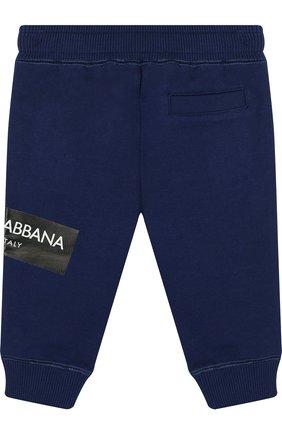 Детские хлопковые джоггеры с логотипом бренда DOLCE & GABBANA синего цвета, арт. L1JPR9/G7MZ0   Фото 2