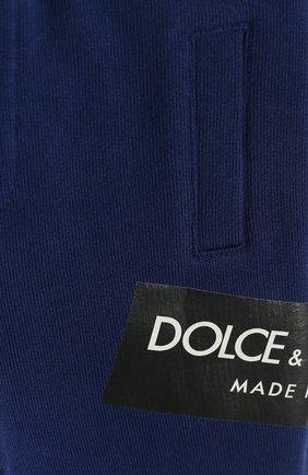 Детские хлопковые джоггеры с логотипом бренда DOLCE & GABBANA синего цвета, арт. L1JPR9/G7MZ0   Фото 3