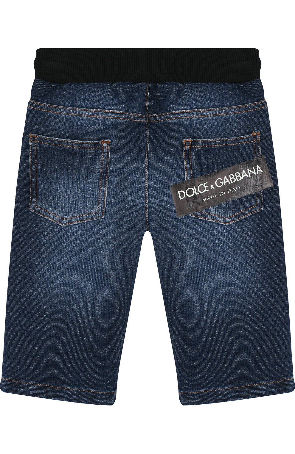 Детские джинсы с декоративными потертостями и эластичным поясом DOLCE & GABBANA синего цвета, арт. L1JPS5/G7MZB | Фото 2