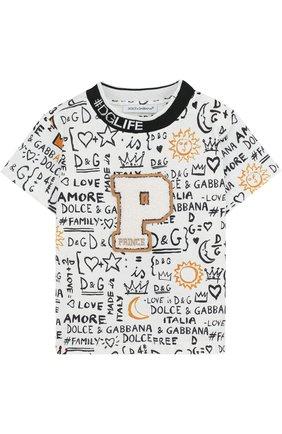 Детский хлопковая футболка с принтом DOLCE & GABBANA белого цвета, арт. L1JT6S/G7MXG | Фото 1