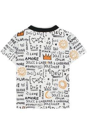 Детский хлопковая футболка с принтом DOLCE & GABBANA белого цвета, арт. L1JT6S/G7MXG | Фото 2