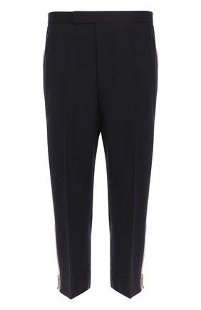 Шерстяные укороченные брюки с лампасами Thom Browne темно-синие | Фото №1