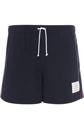 Плавки-шорты с отделкой Thom Browne темно-синие | Фото №1