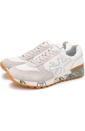 Комбинированные кроссовки на шнуровке Premiata белые | Фото №1