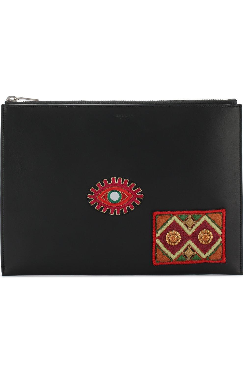 Мужского кожаный чехол для ipad на молнии SAINT LAURENT черного цвета, арт. 397295/0J316 | Фото 1