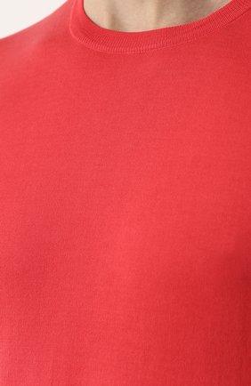 Хлопковый джемпер с короткими рукавами Fedeli коралловый   Фото №5