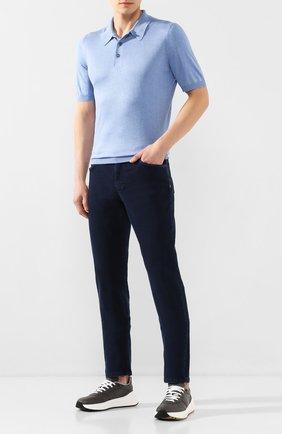 Мужское шелковое поло ANDREA CAMPAGNA голубого цвета, арт. 43110/23503   Фото 2