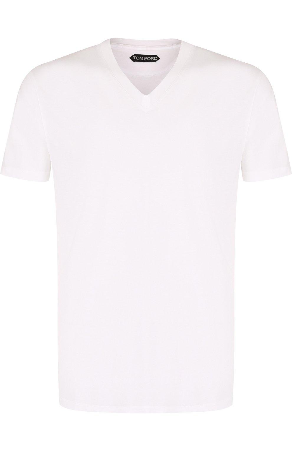 Мужская однотонная футболка с v-образным вырезом TOM FORD белого цвета, арт. BP229/TFJ915 | Фото 1