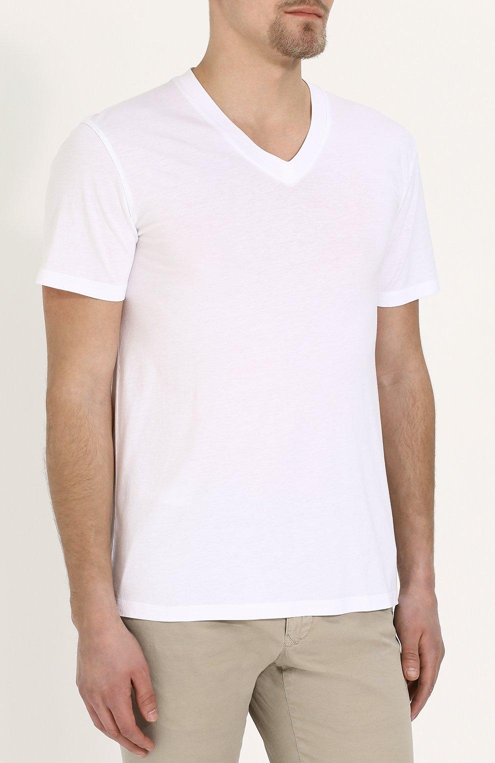 Мужская однотонная футболка с v-образным вырезом TOM FORD белого цвета, арт. BP229/TFJ915 | Фото 3