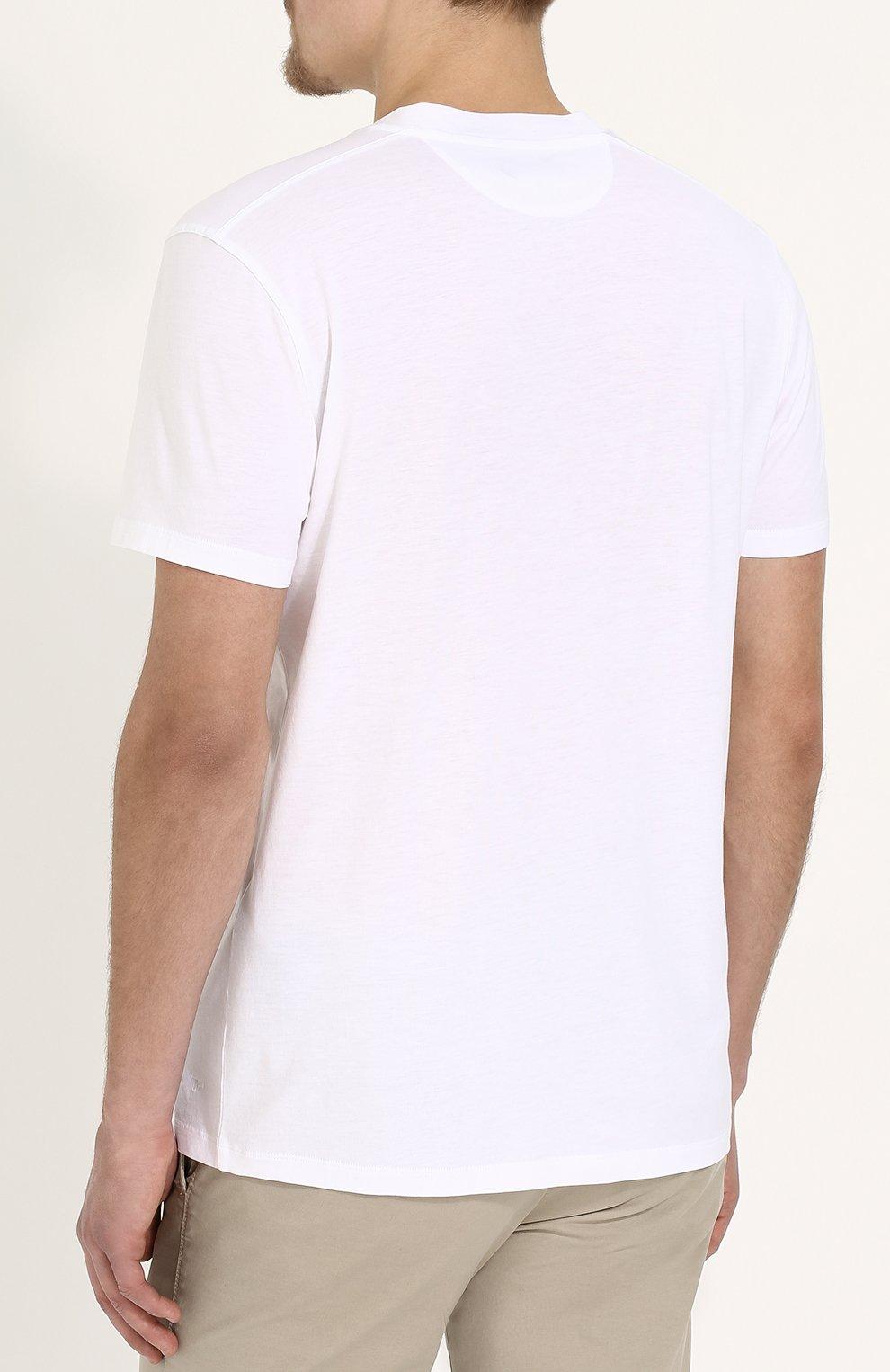 Мужская однотонная футболка с v-образным вырезом TOM FORD белого цвета, арт. BP229/TFJ915 | Фото 4