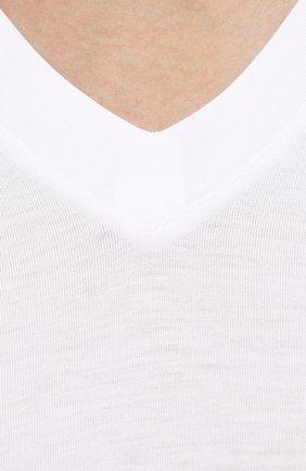 Мужская однотонная футболка с v-образным вырезом TOM FORD белого цвета, арт. BP229/TFJ915 | Фото 5