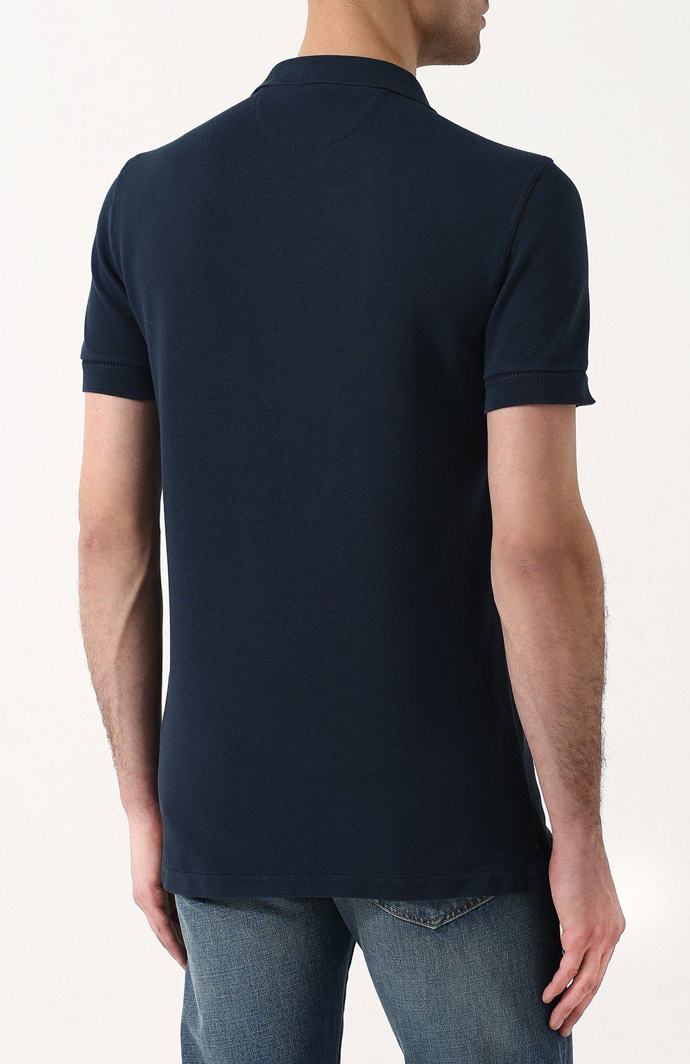 Мужское хлопковое поло с короткими рукавами TOM FORD синего цвета, арт. BP331/TFJ664 | Фото 4