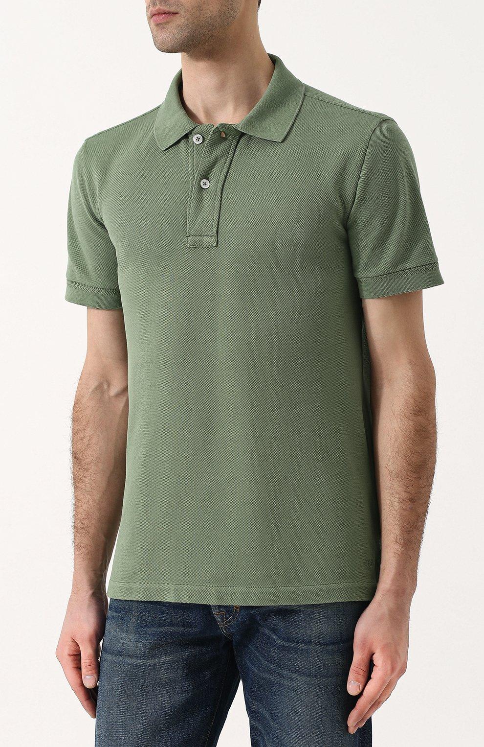 Мужское хлопковое поло с короткими рукавами TOM FORD зеленого цвета, арт. BP331/TFJ664 | Фото 3