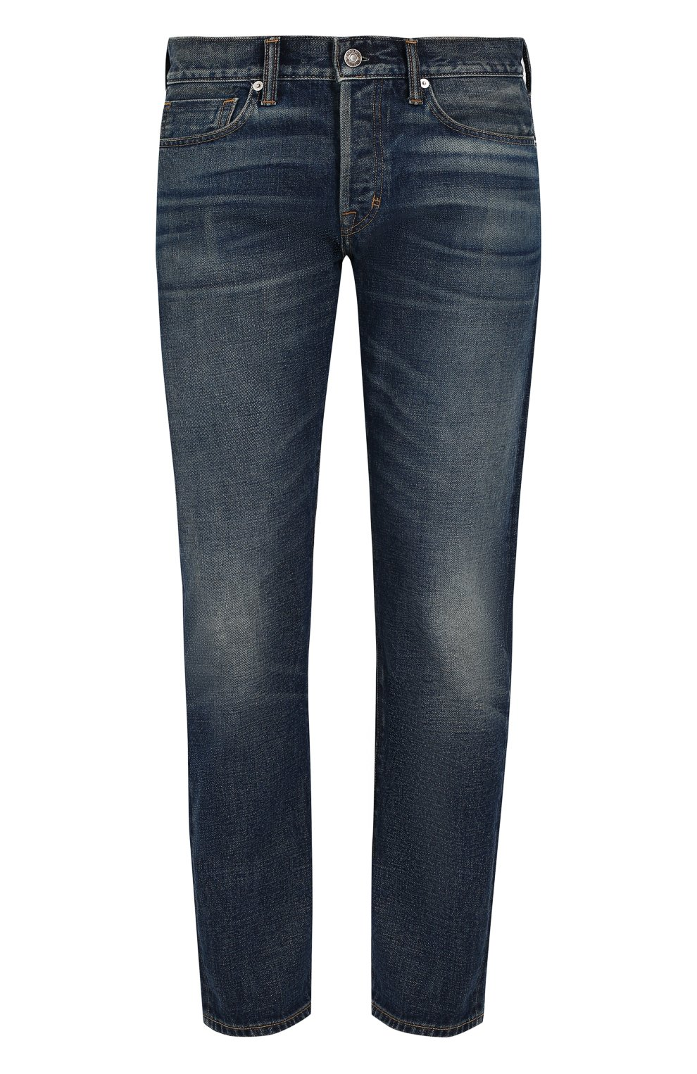 Мужские джинсы прямого кроя с потертостями TOM FORD голубого цвета, арт. BPJ11/TFD002   Фото 1