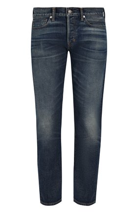 Мужские джинсы прямого кроя с потертостями TOM FORD голубого цвета, арт. BPJ11/TFD002 | Фото 1