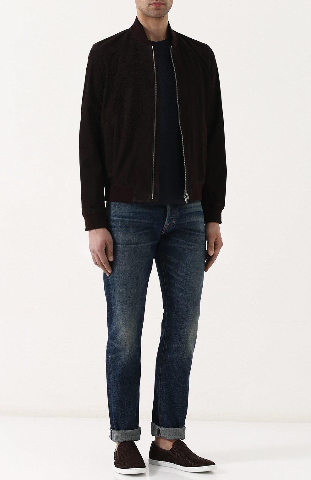 Мужские джинсы прямого кроя с потертостями TOM FORD голубого цвета, арт. BPJ11/TFD002   Фото 2