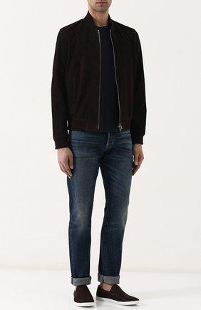 Мужские джинсы прямого кроя с потертостями TOM FORD голубого цвета, арт. BPJ11/TFD002 | Фото 2