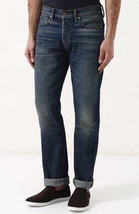Мужские джинсы прямого кроя с потертостями TOM FORD голубого цвета, арт. BPJ11/TFD002   Фото 3