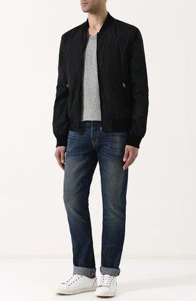 Мужская хлопковая футболка TOM FORD серого цвета, арт. BP402/TFJ894   Фото 2